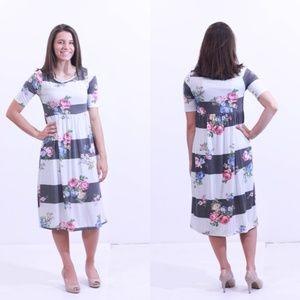 NEW Isabella Dress - Ivory/Charcoal
